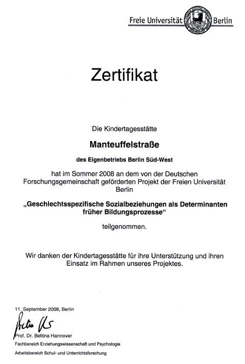 Zertifikat Kita Manteuffelstr.   Kindertagesstätten Berlin-Süd-West